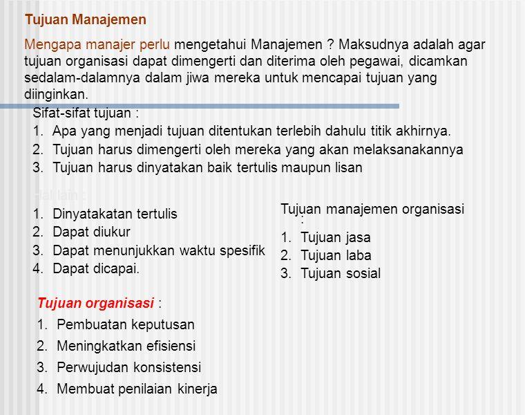 Tujuan Manajemen Mengapa manajer perlu mengetahui Manajemen ? Maksudnya adalah agar tujuan organisasi dapat dimengerti dan diterima oleh pegawai, dica
