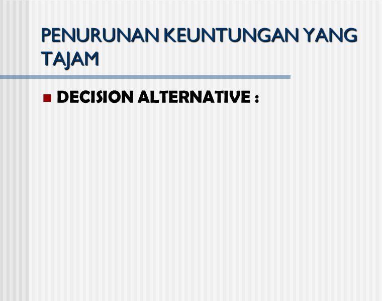 PENURUNAN KEUNTUNGAN YANG TAJAM DECISION ALTERNATIVE :