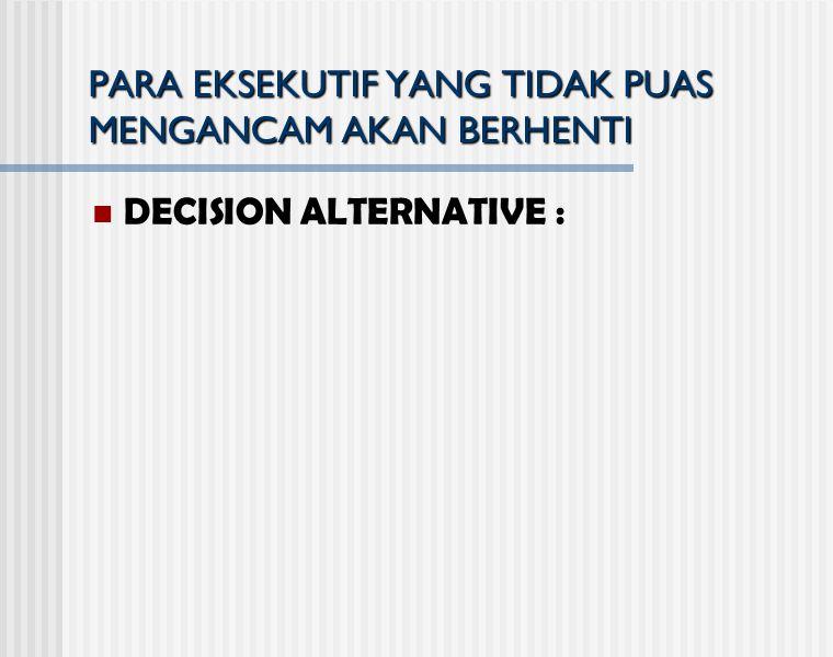 PARA EKSEKUTIF YANG TIDAK PUAS MENGANCAM AKAN BERHENTI DECISION ALTERNATIVE :
