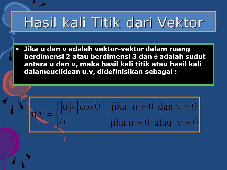 Hasil kali Titik dari Vektor Jika u dan v adalah vektor-vektor dalam ruang berdimensi 2 atau berdimensi 3 dan  adalah sudut antara u dan v, maka hasi