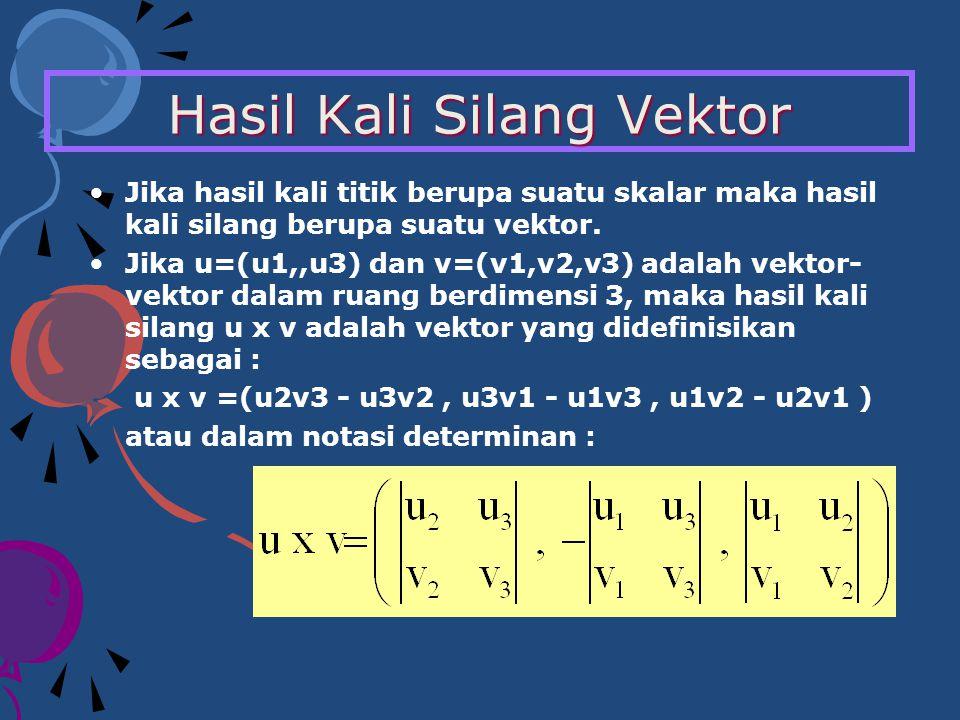Hasil Kali Silang Vektor Jika hasil kali titik berupa suatu skalar maka hasil kali silang berupa suatu vektor. Jika u=(u1,,u3) dan v=(v1,v2,v3) adalah