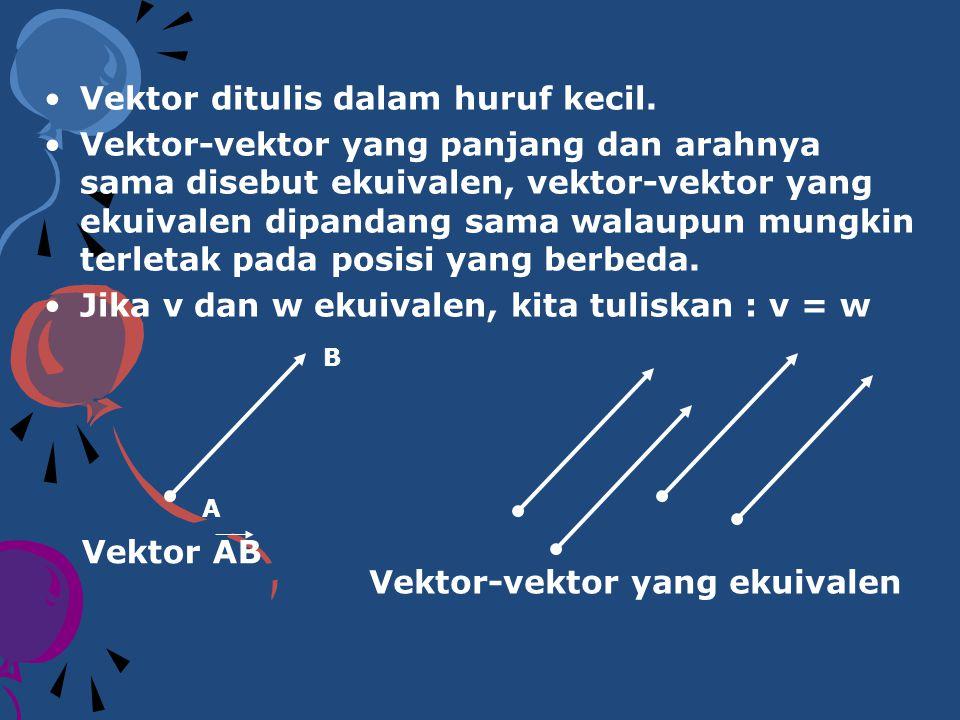 Vektor ditulis dalam huruf kecil. Vektor-vektor yang panjang dan arahnya sama disebut ekuivalen, vektor-vektor yang ekuivalen dipandang sama walaupun