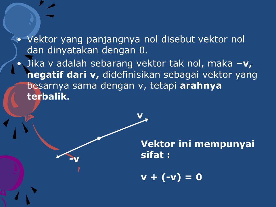 Jika v dan w adalah dua vektor sebarang, maka selisih w dari v didefinisikan sebagai : v – w = v + (-w) Jika v adalah suatu vektor tak nol dan k adalah suatu bilangan real tak nol (skalar), maka hasil kali kv didefinisikan sebagai vektor yang panjangnya k kali panjang v dan arahnya sama dengan arah v jika k > 0 dan berlawanan arah dengan v jika k < 0.