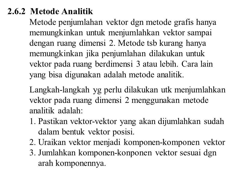 2.6.2 Metode Analitik Metode penjumlahan vektor dgn metode grafis hanya memungkinkan untuk menjumlahkan vektor sampai dengan ruang dimensi 2. Metode t