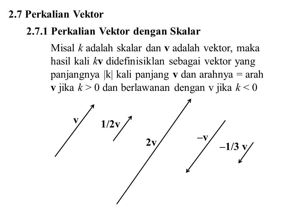 2.7 Perkalian Vektor 2.7.1 Perkalian Vektor dengan Skalar Misal k adalah skalar dan v adalah vektor, maka hasil kali kv didefinisiklan sebagai vektor