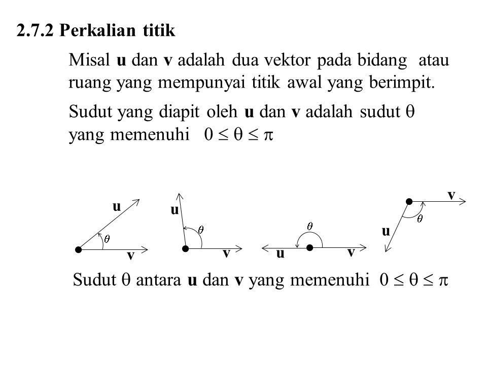 2.7.2 Perkalian titik Misal u dan v adalah dua vektor pada bidang atau ruang yang mempunyai titik awal yang berimpit. Sudut yang diapit oleh u dan v a