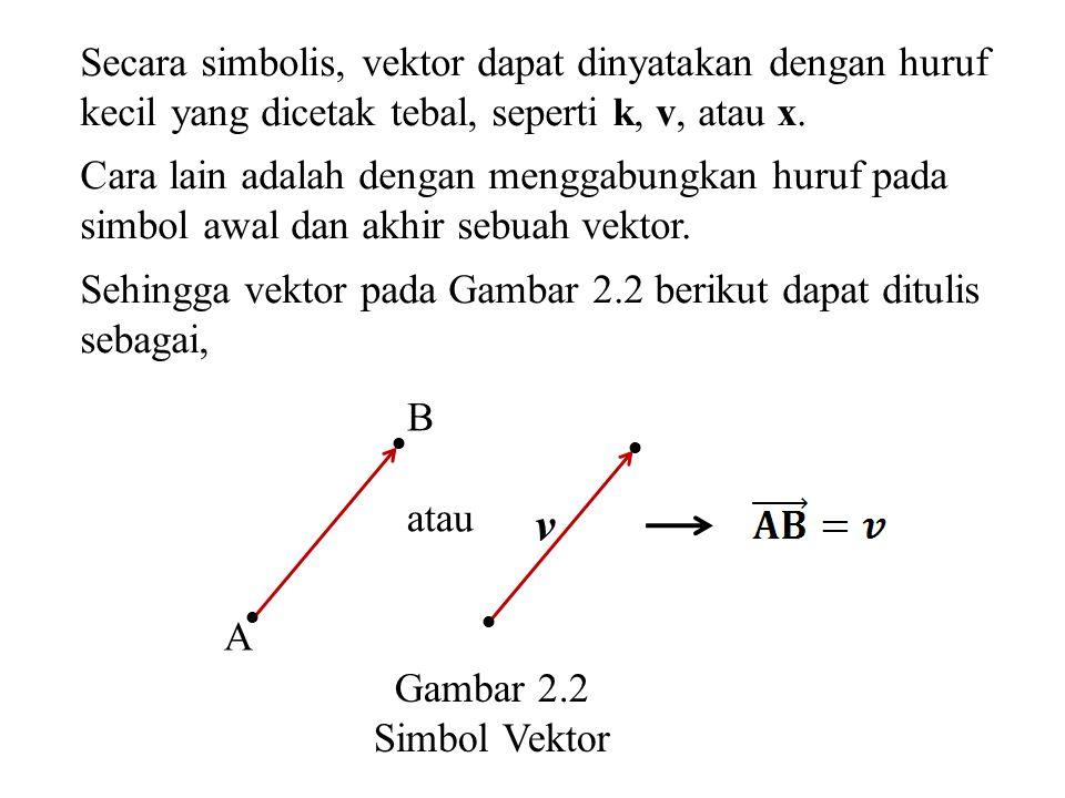 Secara simbolis, vektor dapat dinyatakan dengan huruf kecil yang dicetak tebal, seperti k, v, atau x. Cara lain adalah dengan menggabungkan huruf pada