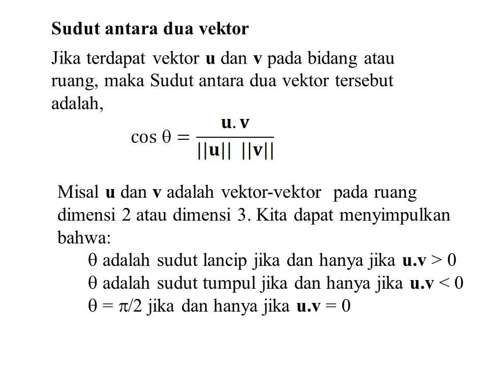 Sudut antara dua vektor Jika terdapat vektor u dan v pada bidang atau ruang, maka Sudut antara dua vektor tersebut adalah, Misal u dan v adalah vektor