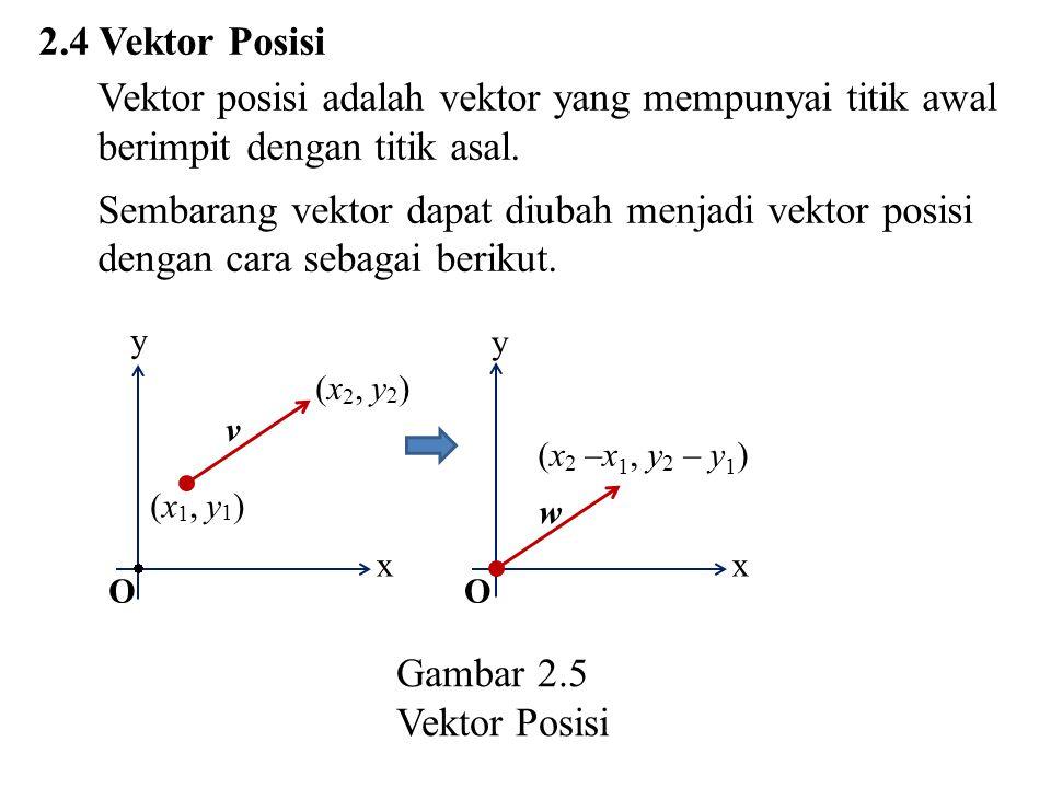 2.4 Vektor Posisi Vektor posisi adalah vektor yang mempunyai titik awal berimpit dengan titik asal. Sembarang vektor dapat diubah menjadi vektor posis
