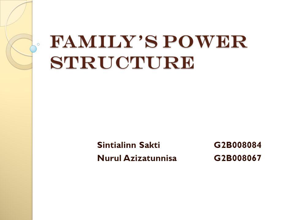 Family's Power Structure Sintialinn SaktiG2B008084 Nurul AzizatunnisaG2B008067