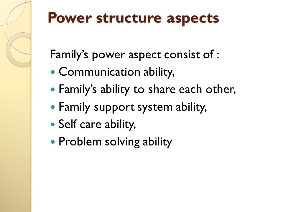 Power structure aspects Family's power aspect consist of : Communication ability, Family's ability to share each other, Family support system ability, Self care ability, Problem solving ability