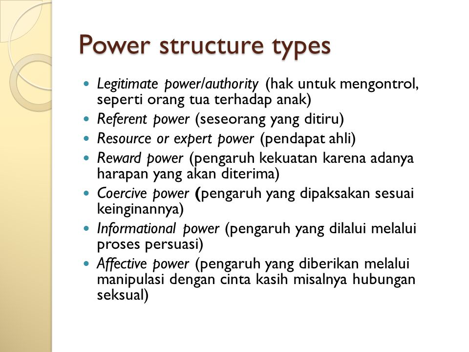Power structure types Legitimate power/authority (hak untuk mengontrol, seperti orang tua terhadap anak) Referent power (seseorang yang ditiru) Resour