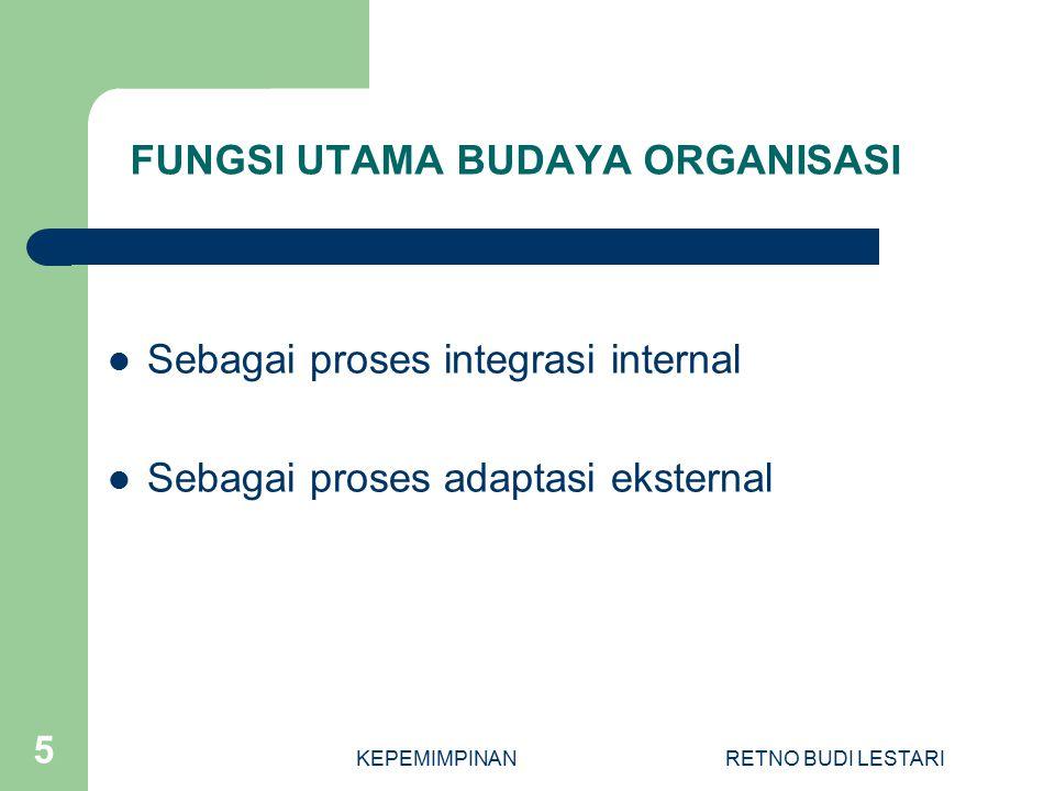 KEPEMIMPINANRETNO BUDI LESTARI 5 FUNGSI UTAMA BUDAYA ORGANISASI Sebagai proses integrasi internal Sebagai proses adaptasi eksternal