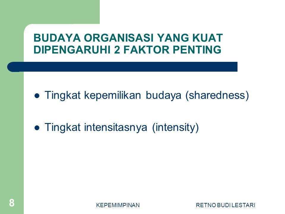 KEPEMIMPINANRETNO BUDI LESTARI 8 BUDAYA ORGANISASI YANG KUAT DIPENGARUHI 2 FAKTOR PENTING Tingkat kepemilikan budaya (sharedness) Tingkat intensitasnya (intensity)