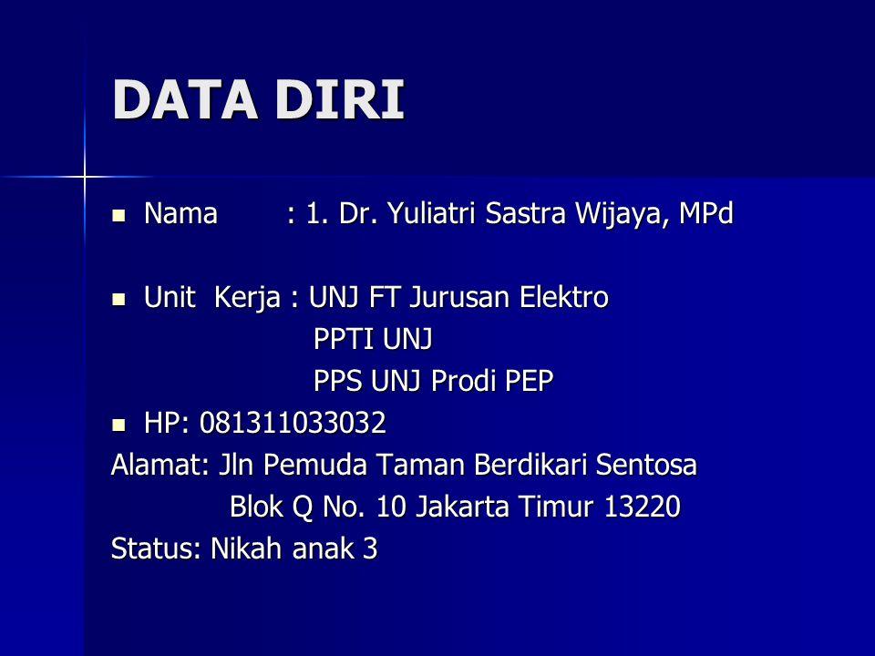 DATA DIRI Nama: 1. Dr. Yuliatri Sastra Wijaya, MPd Nama: 1. Dr. Yuliatri Sastra Wijaya, MPd Unit Kerja : UNJ FT Jurusan Elektro Unit Kerja : UNJ FT Ju