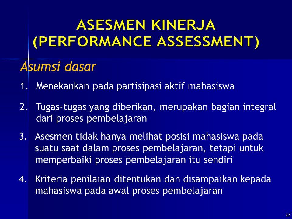 27 Asumsi dasar 1.Menekankan pada partisipasi aktif mahasiswa 2.Tugas-tugas yang diberikan, merupakan bagian integral dari proses pembelajaran 3.Asesm
