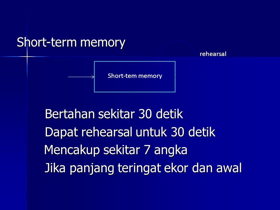 Short-term memory Bertahan sekitar 30 detik Dapat rehearsal untuk 30 detik Mencakup sekitar 7 angka Mencakup sekitar 7 angka Jika panjang teringat eko