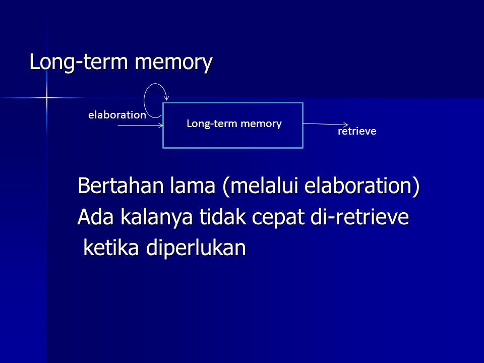 Long-term memory Bertahan lama (melalui elaboration) Ada kalanya tidak cepat di-retrieve ketika diperlukan ketika diperlukan Long-term memory elaborat