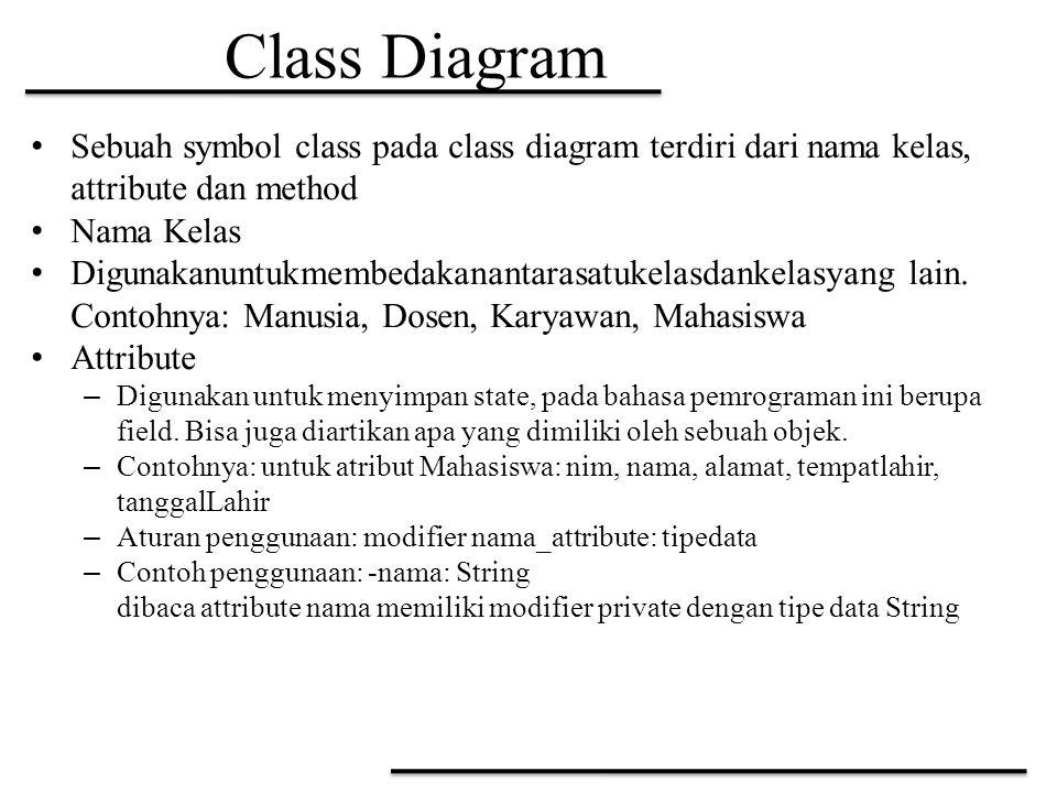 Class Diagram Sebuah symbol class pada class diagram terdiri dari nama kelas, attribute dan method Nama Kelas Digunakanuntukmembedakanantarasatukelasd