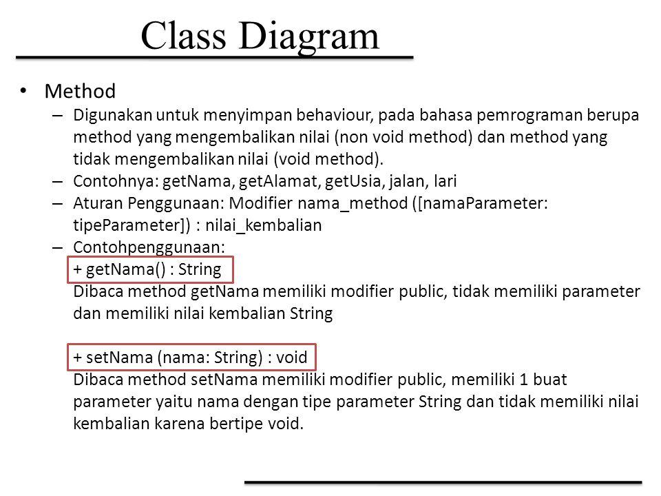 Class Diagram Method – Digunakan untuk menyimpan behaviour, pada bahasa pemrograman berupa method yang mengembalikan nilai (non void method) dan metho