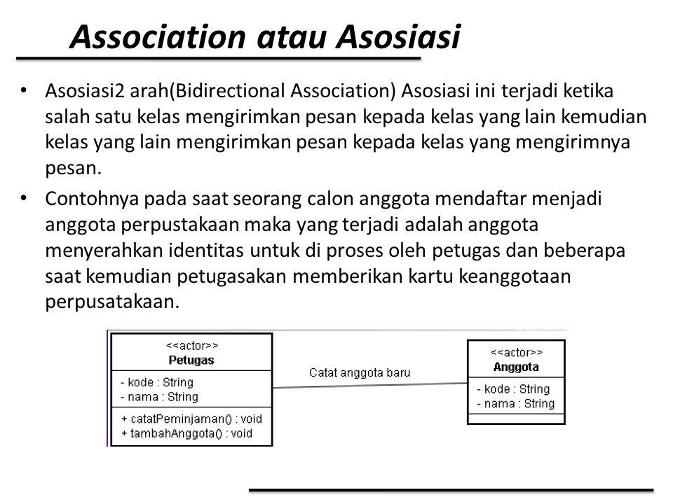 Association atau Asosiasi Asosiasi2 arah(Bidirectional Association) Asosiasi ini terjadi ketika salah satu kelas mengirimkan pesan kepada kelas yang l