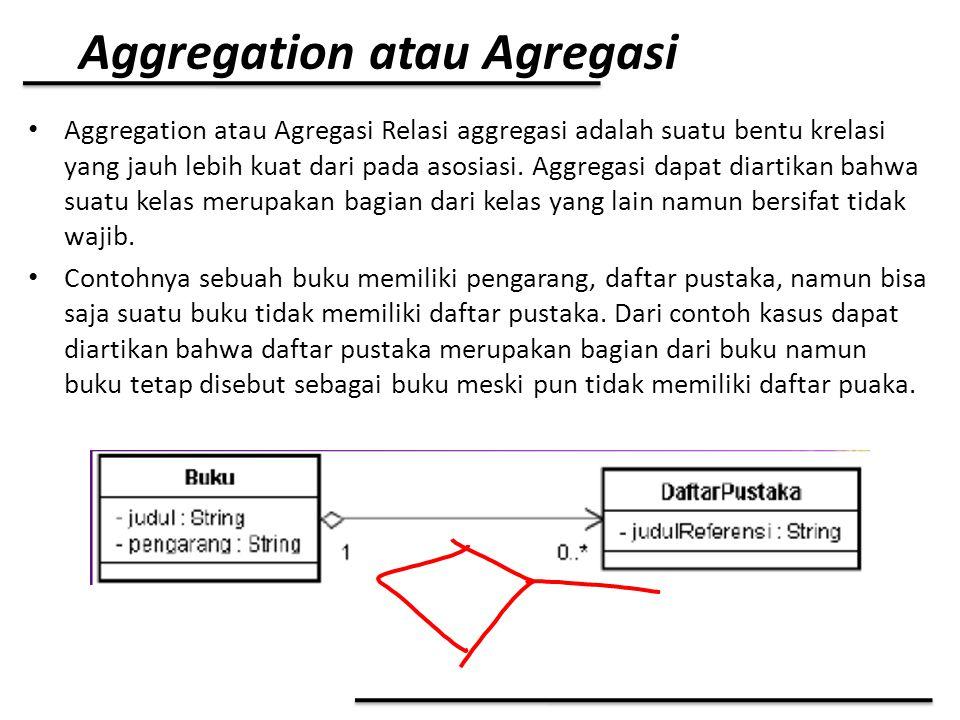 Aggregation atau Agregasi Aggregation atau Agregasi Relasi aggregasi adalah suatu bentu krelasi yang jauh lebih kuat dari pada asosiasi. Aggregasi dap