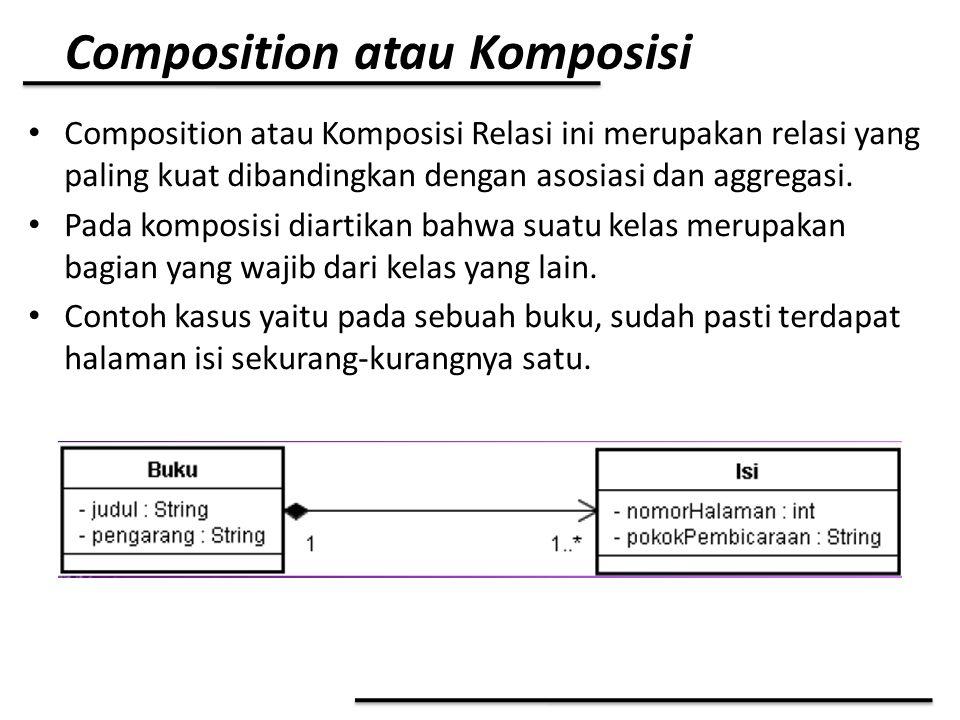 Composition atau Komposisi Composition atau Komposisi Relasi ini merupakan relasi yang paling kuat dibandingkan dengan asosiasi dan aggregasi. Pada ko