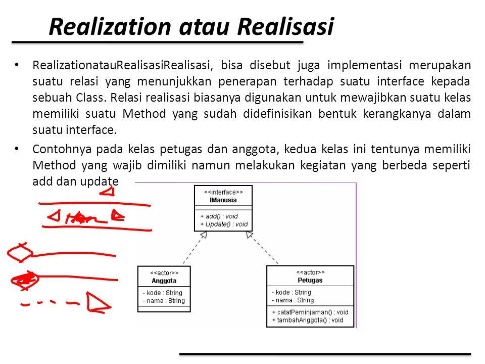 Realization atau Realisasi RealizationatauRealisasiRealisasi, bisa disebut juga implementasi merupakan suatu relasi yang menunjukkan penerapan terhada