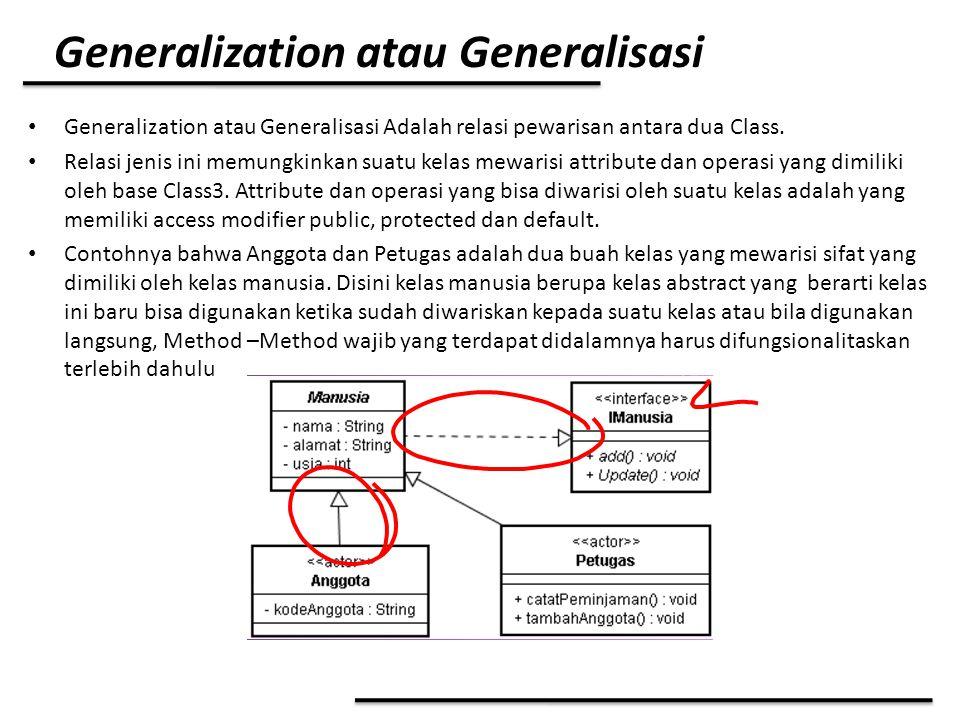 Generalization atau Generalisasi Generalization atau Generalisasi Adalah relasi pewarisan antara dua Class. Relasi jenis ini memungkinkan suatu kelas