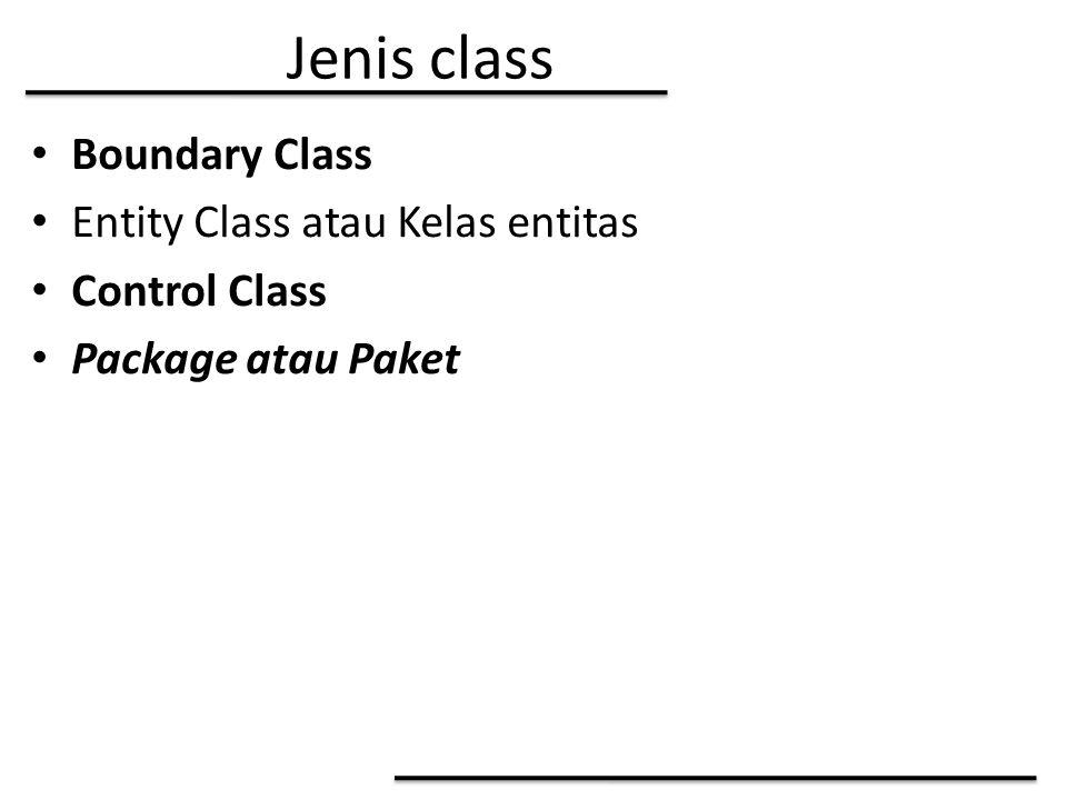Jenis class Boundary Class Entity Class atau Kelas entitas Control Class Package atau Paket