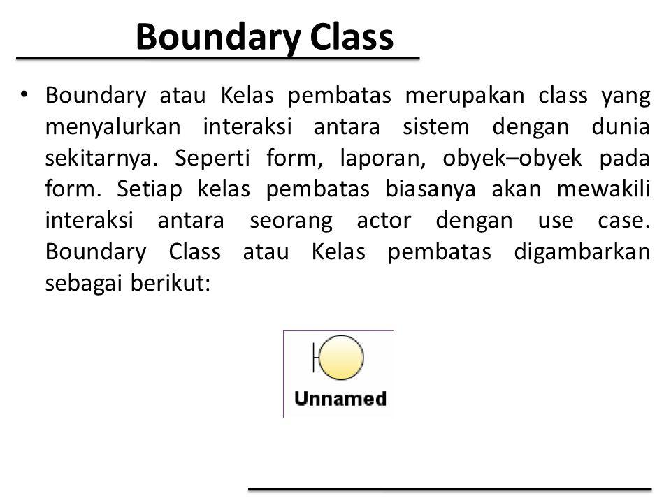 Boundary Class Boundary atau Kelas pembatas merupakan class yang menyalurkan interaksi antara sistem dengan dunia sekitarnya. Seperti form, laporan, o