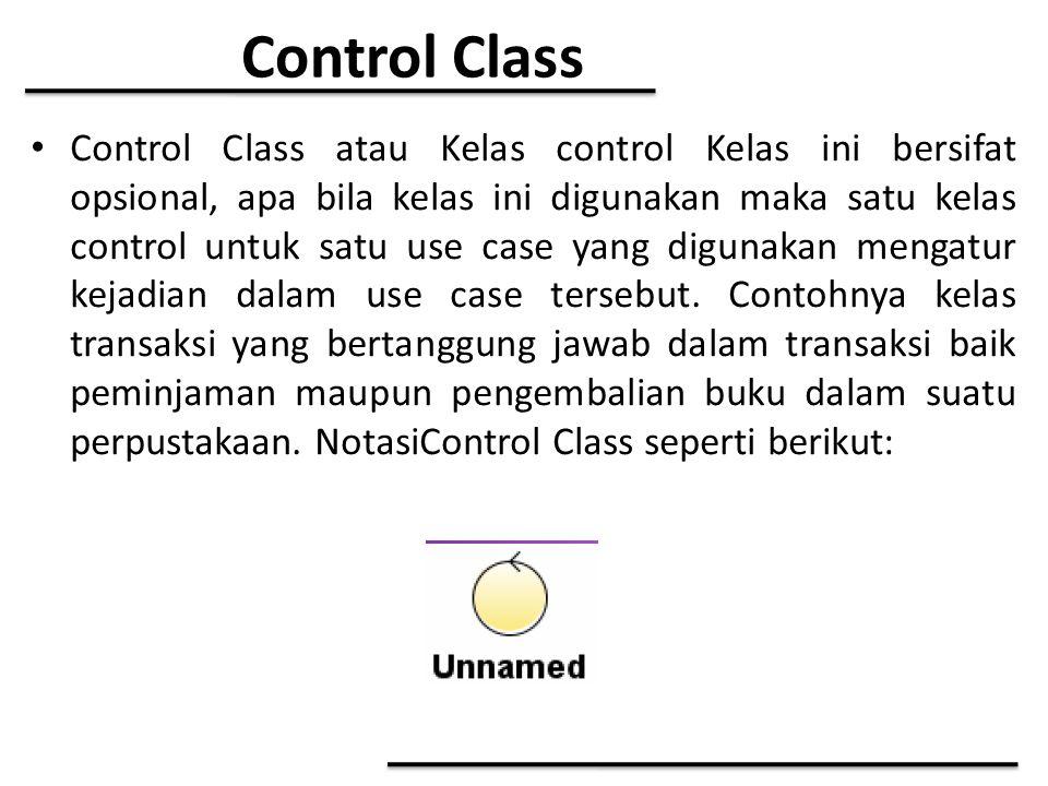 Control Class Control Class atau Kelas control Kelas ini bersifat opsional, apa bila kelas ini digunakan maka satu kelas control untuk satu use case y