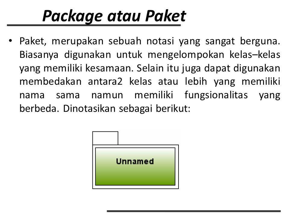 Package atau Paket Paket, merupakan sebuah notasi yang sangat berguna. Biasanya digunakan untuk mengelompokan kelas–kelas yang memiliki kesamaan. Sela