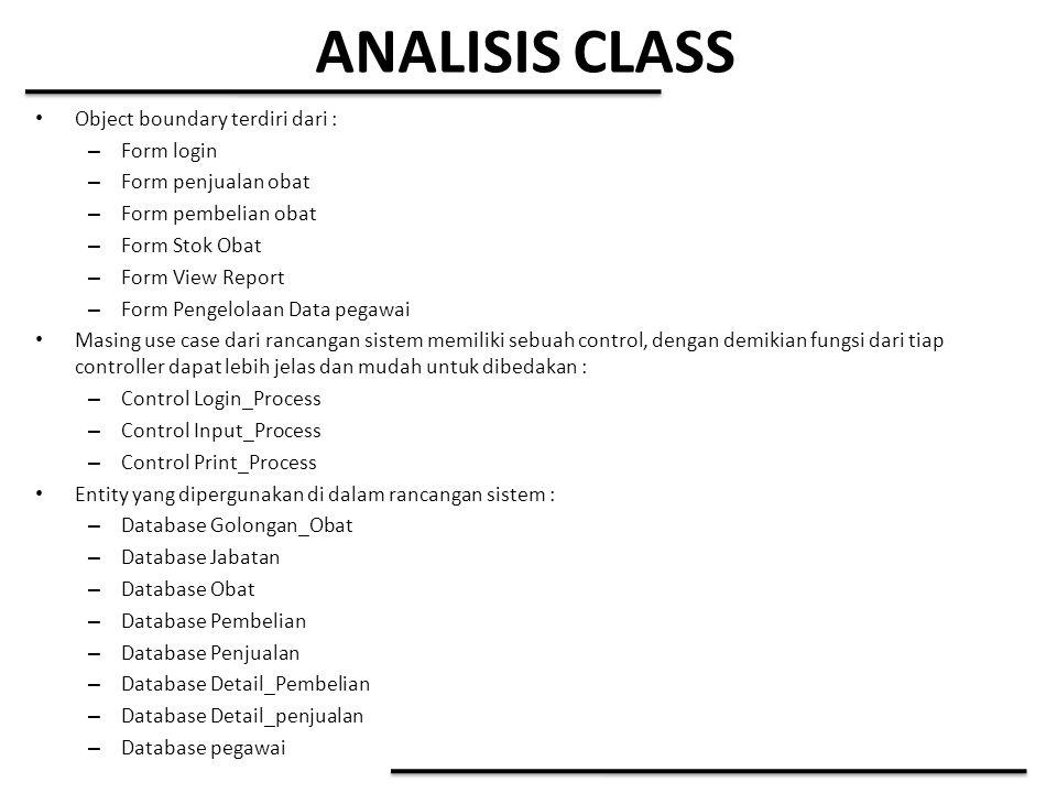 ANALISIS CLASS Object boundary terdiri dari : – Form login – Form penjualan obat – Form pembelian obat – Form Stok Obat – Form View Report – Form Peng