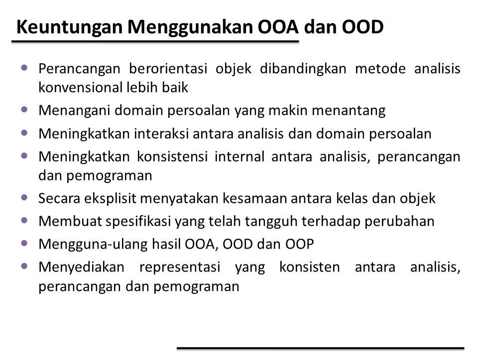 Keuntungan Menggunakan OOA dan OOD Perancangan berorientasi objek dibandingkan metode analisis konvensional lebih baik Menangani domain persoalan yang