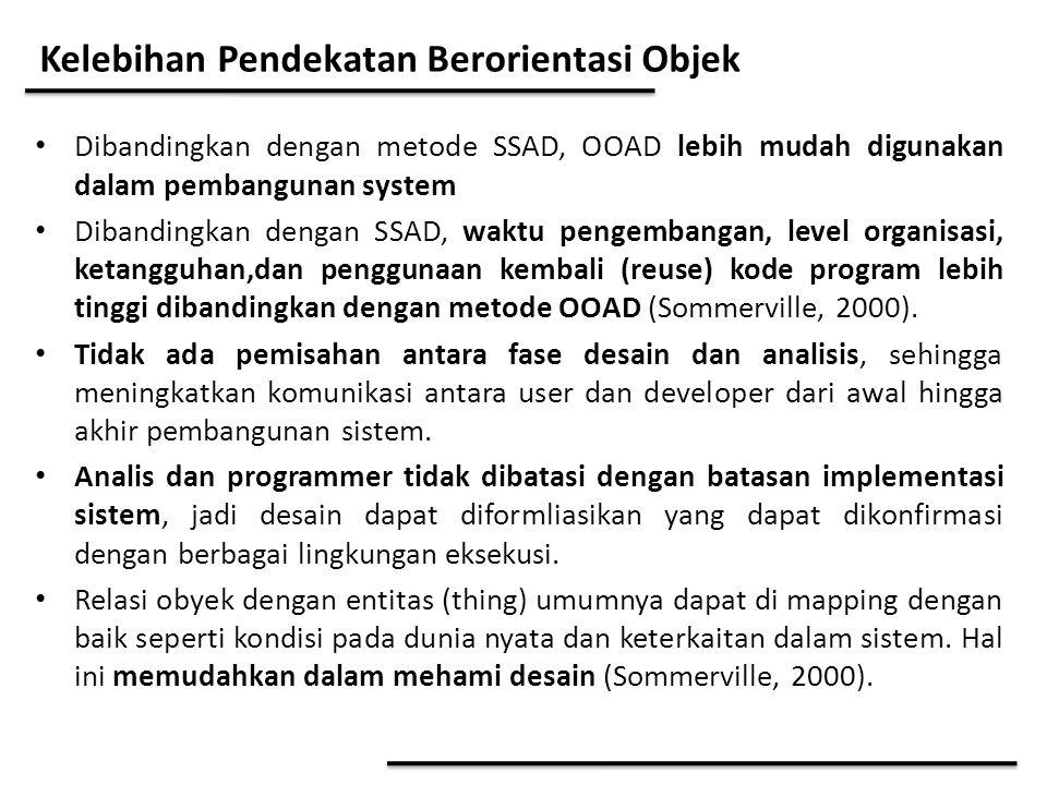 Kelebihan Pendekatan Berorientasi Objek Dibandingkan dengan metode SSAD, OOAD lebih mudah digunakan dalam pembangunan system Dibandingkan dengan SSAD,