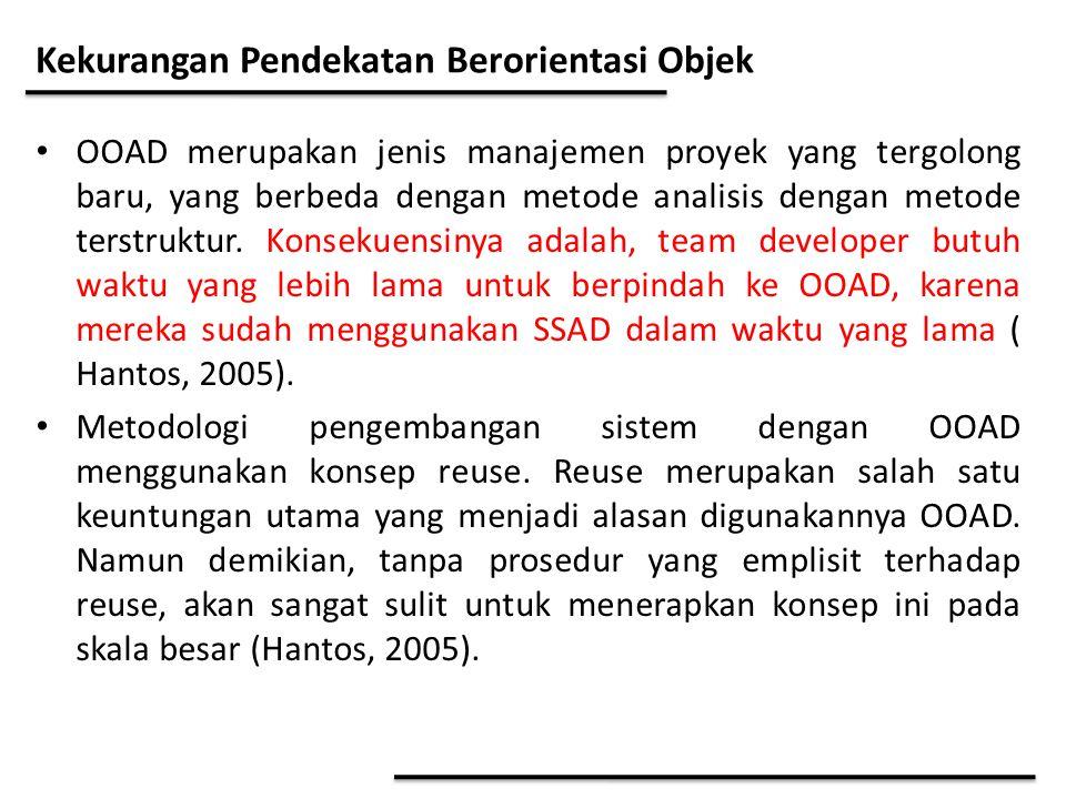Kekurangan Pendekatan Berorientasi Objek OOAD merupakan jenis manajemen proyek yang tergolong baru, yang berbeda dengan metode analisis dengan metode