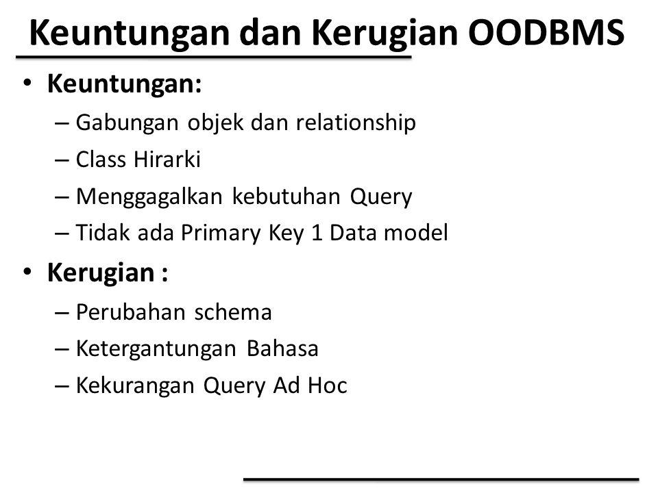 Keuntungan dan Kerugian OODBMS Keuntungan: – Gabungan objek dan relationship – Class Hirarki – Menggagalkan kebutuhan Query – Tidak ada Primary Key 1
