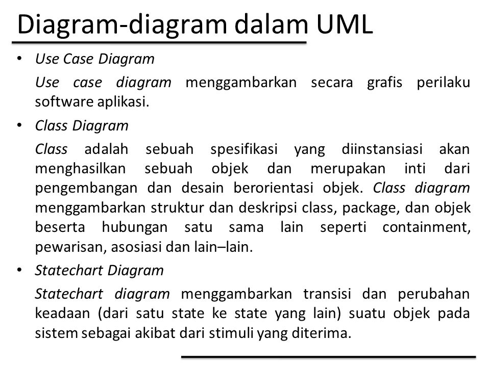 Diagram-diagram dalam UML Use Case Diagram Use case diagram menggambarkan secara grafis perilaku software aplikasi.