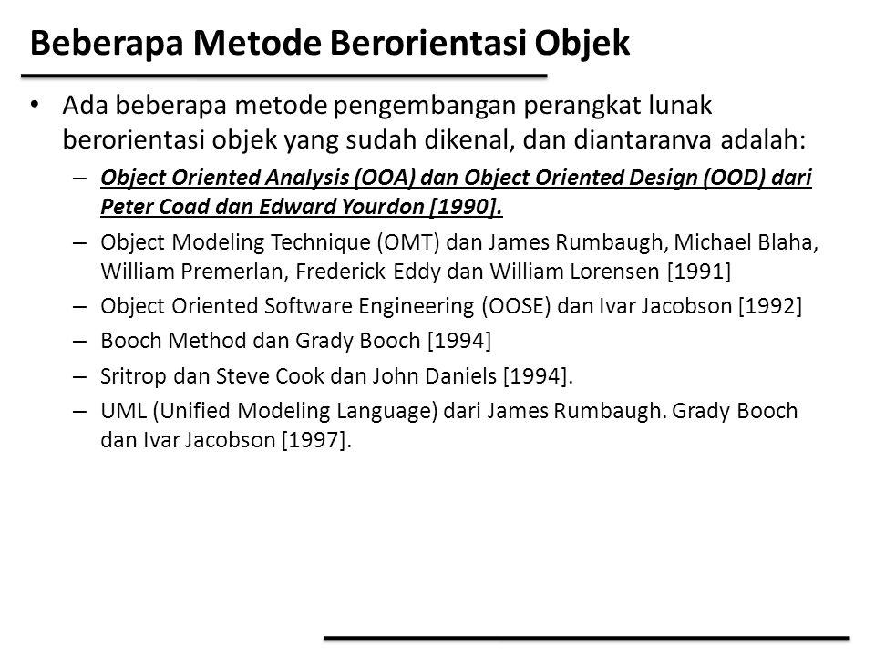 Beberapa Metode Berorientasi Objek Ada beberapa metode pengembangan perangkat lunak berorientasi objek yang sudah dikenal, dan diantaranva adalah: – O