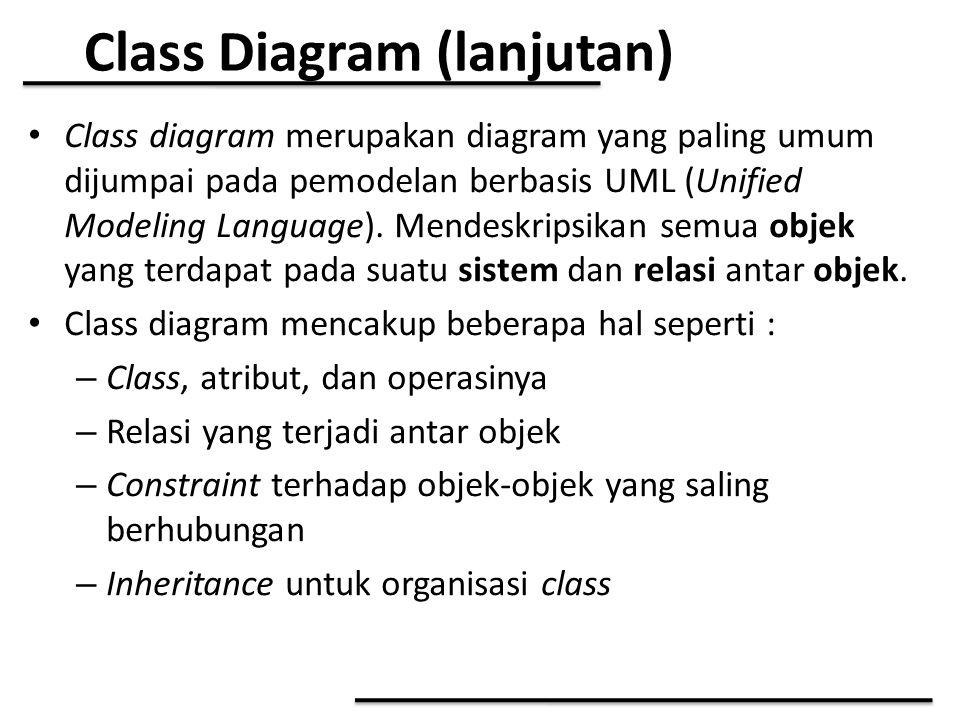Class Diagram (lanjutan) Class diagram merupakan diagram yang paling umum dijumpai pada pemodelan berbasis UML (Unified Modeling Language). Mendeskrip