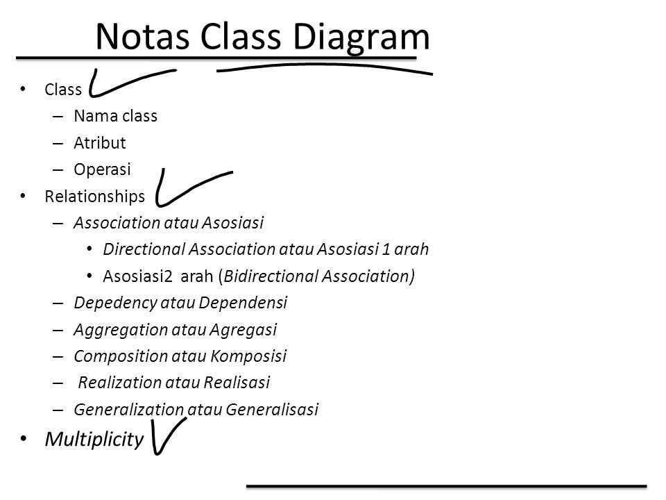 Notas Class Diagram Class – Nama class – Atribut – Operasi Relationships – Association atau Asosiasi Directional Association atau Asosiasi 1 arah Asosiasi2 arah (Bidirectional Association) – Depedency atau Dependensi – Aggregation atau Agregasi – Composition atau Komposisi – Realization atau Realisasi – Generalization atau Generalisasi Multiplicity