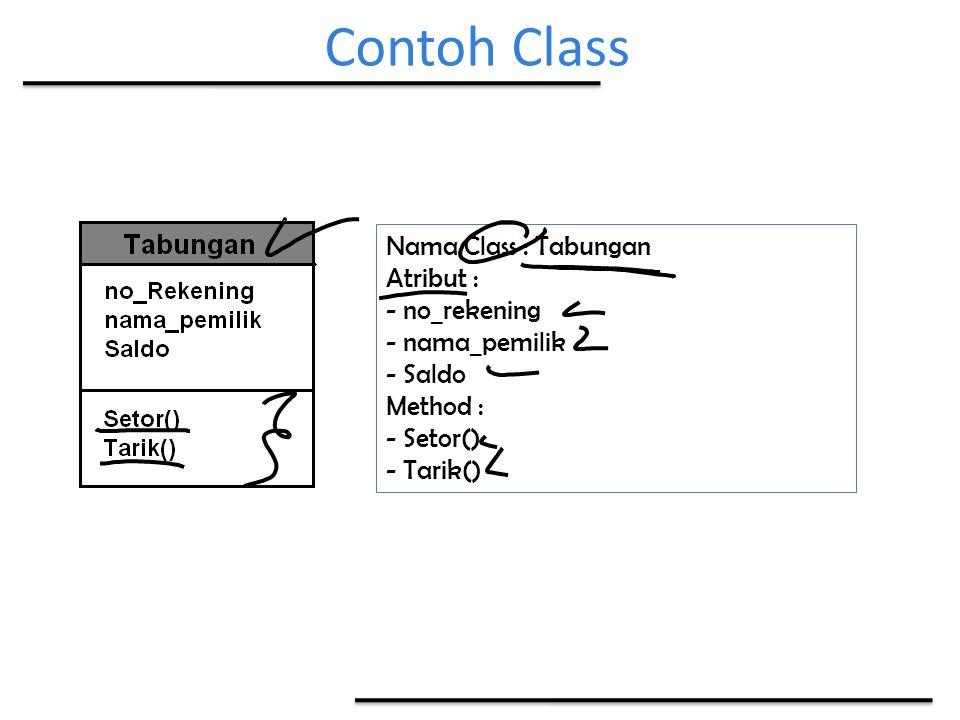 Contoh Class Nama Class : Tabungan Atribut : - no_rekening - nama_pemilik - Saldo Method : - Setor() - Tarik()