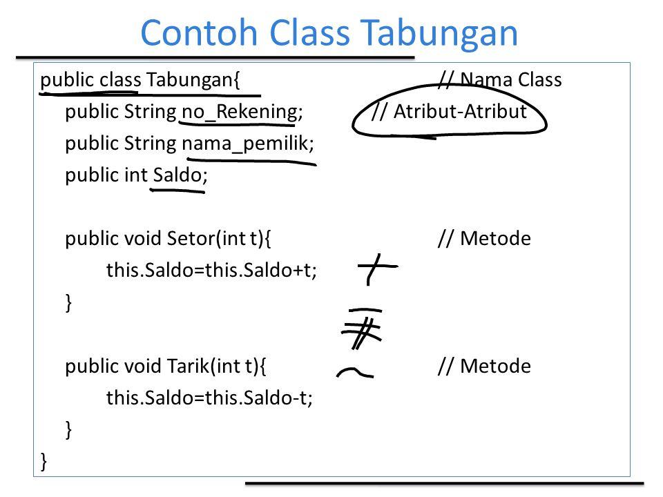 Contoh Class Tabungan public class Tabungan{// Nama Class public String no_Rekening;// Atribut-Atribut public String nama_pemilik; public int Saldo; p