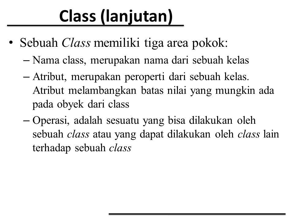 Class (lanjutan) Sebuah Class memiliki tiga area pokok: – Nama class, merupakan nama dari sebuah kelas – Atribut, merupakan peroperti dari sebuah kela