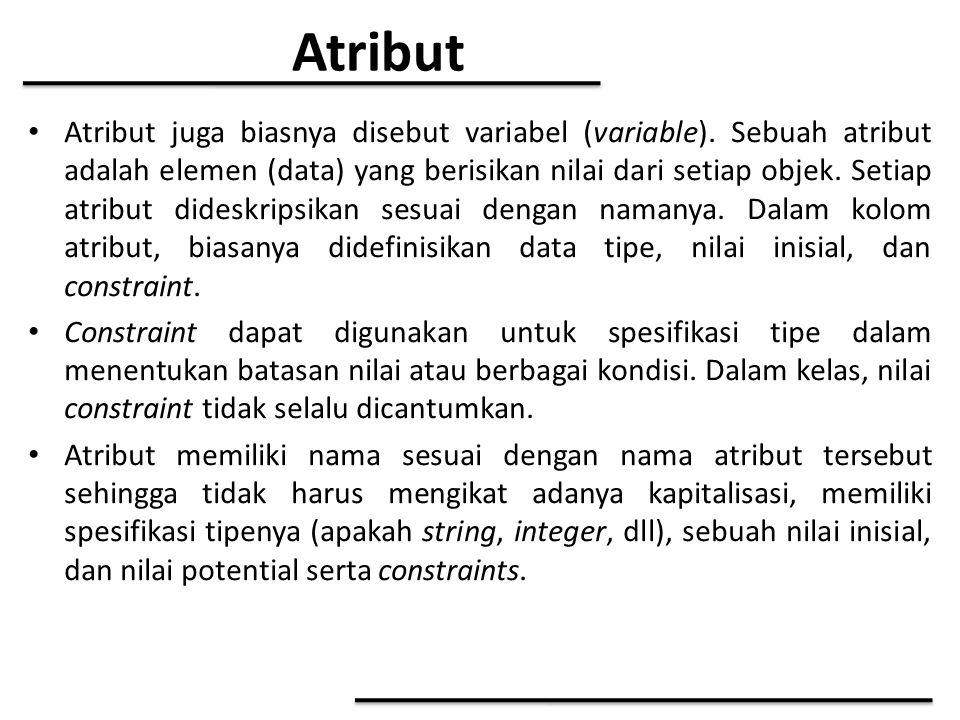 Atribut Atribut juga biasnya disebut variabel (variable). Sebuah atribut adalah elemen (data) yang berisikan nilai dari setiap objek. Setiap atribut d