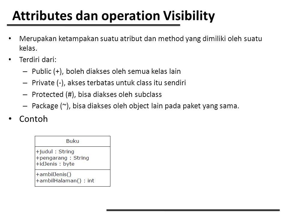 Attributes dan operation Visibility Merupakan ketampakan suatu atribut dan method yang dimiliki oleh suatu kelas. Terdiri dari: – Public (+), boleh di
