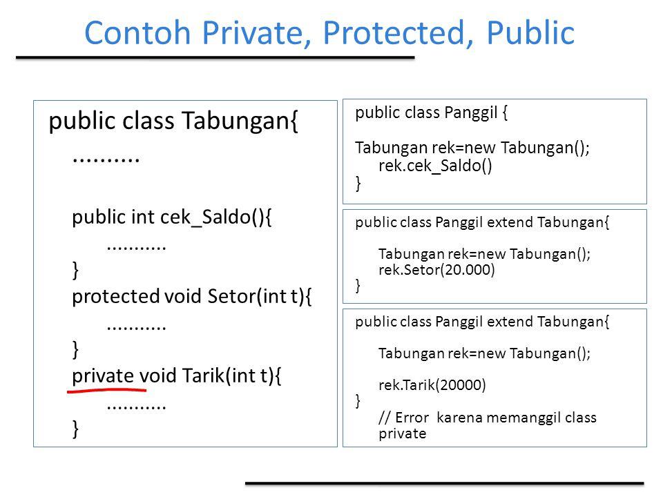 Contoh Private, Protected, Public public class Tabungan{.......... public int cek_Saldo(){........... } protected void Setor(int t){........... } priv