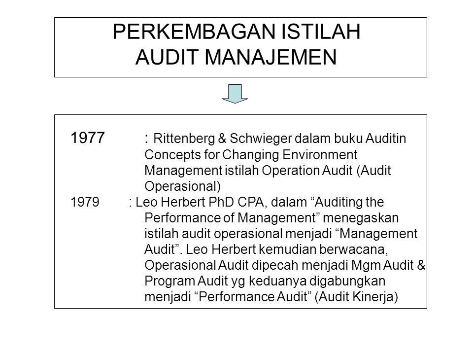PERKEMBAGAN ISTILAH AUDIT MANAJEMEN 1977: Rittenberg & Schwieger dalam buku Auditin Concepts for Changing Environment Management istilah Operation Aud