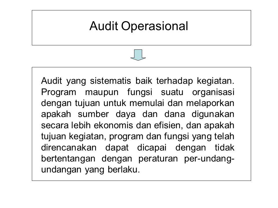 Audit Operasional Audit yang sistematis baik terhadap kegiatan. Program maupun fungsi suatu organisasi dengan tujuan untuk memulai dan melaporkan apak